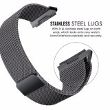Loop Milanese preta faixa de relógio de aço inoxidável para Cinta Iônico Fitbit Milanese