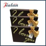 Logo personnalisé ruban imprimé bow boîte de mariage de papier d'emballage en carton