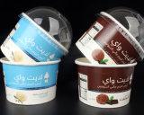 Taza disponible del helado, taza de papel frita del yogur