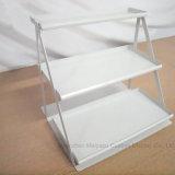 Enregistrer la crémaillère d'étalage trapézoïdale à trois niveaux de cuvettes d'étagère de couche blanche de poudre