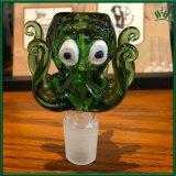14.4mm de 18,8mm macho verde común forma de pulpo del tubo de vidrio Bowl