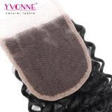 Закрытие шнурка человеческих волос бразильянина верхнего качества 100% малайзийское курчавое