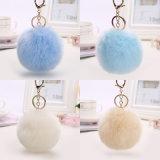 経済的なプラシ天の毛皮の球の卸売のウサギの毛皮のPompon Keychain
