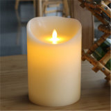 Vela sin llama blanca del pilar LED de la cera de las velas decorativas del hogar de la fuente de la fábrica