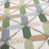 Cama confortável durável Prewashed personalizados Quilted colchas de 3 Peças Conjunto Coverlet Puzzle Verde
