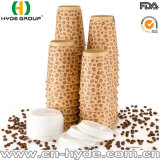 taza de papel de Kraft de la pared doble disponible 12oz con la tapa (12oz)