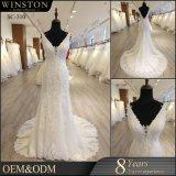 Heißes reizvolles weißes Spitzeapplique-Nixe-Hochzeits-Kleid des Sequin-2018