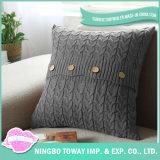 Venta al por mayor de encargo blanca de la cubierta del amortiguador del algodón de la funda de almohada decorativa
