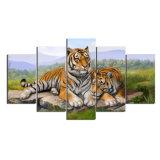 5 peintures à l'huile animales de peinture estampées modernes d'horizontal d'illustration de Cuadros de peinture de toile de tigre de panneau pour la salle de séjour