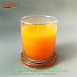 Vela de cristal reta do vaso da tampa de vidro alaranjada para a decoração