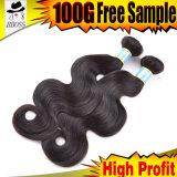 Preço de fábrica no cabelo grande brasileiro da onda 10A, cabelo 100%Human
