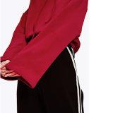 Cosecha de encargo al por mayor Streetwear Hoodie del hombro de la gota roja del espacio en blanco de las mujeres