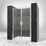 El cuarto de baño de aluminio cromado de perfil de marco mampara de cristal transparente
