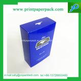 Синяя твердая косметическая глянцеватая коробка верхнего сегмента