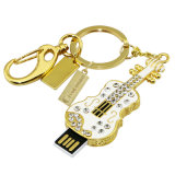 El flash cristalino conduce el modelo lindo del instrumento de Keychain del violín de la memoria