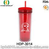 trinkendes Cup des doppel-wandigen Plastiksaft-16oz mit Stroh