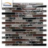 熱い販売の紫色の黒いホテルの縞の石のガラス壁のモザイク