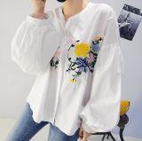 Camisa Collarless do bordado da cor pura feita sob encomenda das senhoras da forma