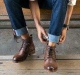 Forro de piel botas de invierno Botas de cuero para hombres