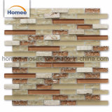 Mattonelle di mosaico di vetro lineari della cucina irregolare variopinta Crack di Backplash del ghiaccio per la parete