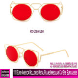 1111 Euro-America Hollowed Cat-Eye Irregular da estrutura de metal óculos de sol