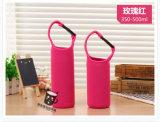 Bouteille d'eau simple portative de sac de couverture de support de chemise de refroidisseur de bouteille du néoprène en verre de bière de qualité mon jeu de cuvette d'emballage de la bouteille 500ml