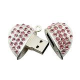 De echte Aandrijving van de Vorm USB van het Hart van het Kristal van de Juwelen van de Capaciteit