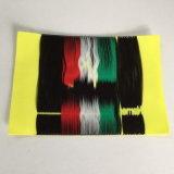Doble densidad de alta densidad de borde suave de espesor 5*7cm amarillo fluorescente ropa etiqueta tejida
