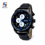 Menのためのステンレス製のSteel Waterproof Genuine Leather Chronograph Luxury Wristwatch
