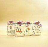 Flacher netter Entwurfs-trinkende Glasflasche mit Schleifen-Schutzkappen-und Flamingo-Drucken