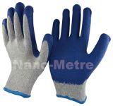 Низкая цена переработки Polycotton Nmsafety покрытием перчатки из латекса