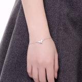 De romantische Echte Armband van Staal 925 met de Juwelen van het Bijvoegsel van Zircon van de Tegenhanger van de Vorm van de Vlinder