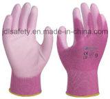 Розовая Nylon перчатка работы при покрынная ладонь PU (PN8004P)