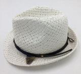 Sombrero de paja de papel con la venda de cuero de la corona de la PU asociada (Sh045)