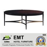 2017 Acier rond en bois moderne Table à café de grande taille (EMT-CT02)