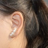 Plaqué or/argent exquis Crystal goujon Pearl Earrings