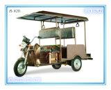 Triciclo elétrico alimentado por energia solar, moto elétrica, estilo aberto, scooter familiar