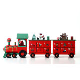 Treno di legno del calendario di avvenimento per la decorazione di natale con 24 cassetti in azione