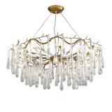Lampadario a bracci a cristallo del ferro del metallo di arte G9 LED di goccia dorata europea moderna della pioggia per il salone