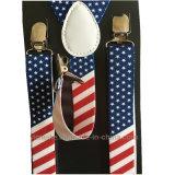 流行アメリカちょうネクタイが付いているメンズ女性フラグによって印刷されるサスペンダー