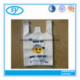 Le sac à provisions en plastique de T-shirt avec vous possèdent le logo