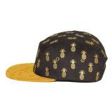 Kundenspezifischer Panel-Hut des Ananas-Drucken-Veloursleder-Rand-Ebenen-Leerzeichen-5