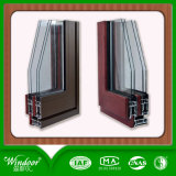 Cor de madeira na janela de ligas de alumínio de vidro duplo