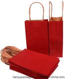 Печать индивидуального, коричневый и белый бумажный мешок рукоятки с витой