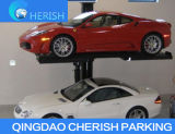 El estacionamiento hidráulico dos coches escoge una elevación del estacionamiento del poste