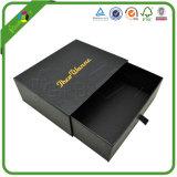 Pequeño rectángulo de regalo de empaquetado impreso negro de la cartulina de papel rígida de la impresión de la insignia de encargo al por mayor