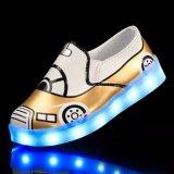 Misstap-op LEIDEN Licht op Kinderen Meisjes van de Hiel van de Dans schitteren de Gouden Lage LEIDENE Lichte Schoenen voor Jonge geitjes