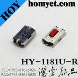 Interruptor del tacto de SMD con 6*3.6*2.5m m botón rojo cuadrado de 2 Pin (1181U-R)