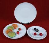陶磁器の白いディナー用大皿か月の版