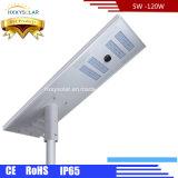 Alto lúmen 6W para 120W PI65 jardim exterior Lâmpada de Rua LED solar integrada